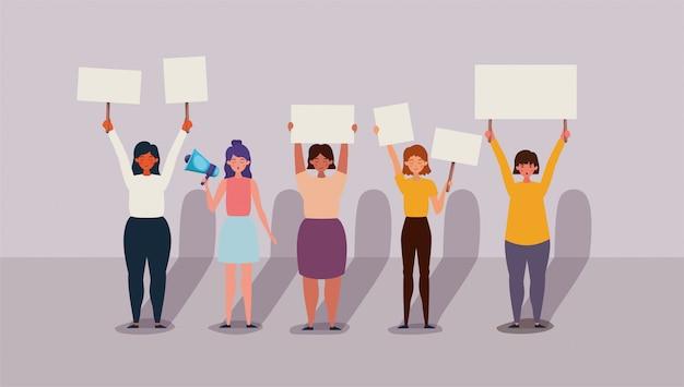Vrouwen die protesteren voor mensenrechtenbanner