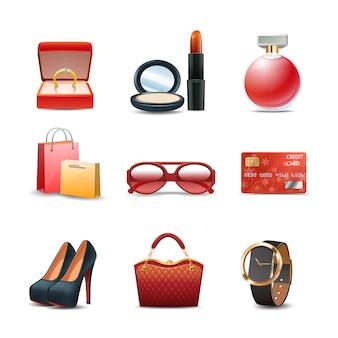 Vrouwen die realistische decoratieve pictogramreeks winkelen