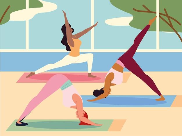 Vrouwen die thuis yoga beoefenen