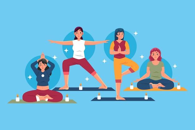 Vrouwen die verschillende yogahoudingen doen