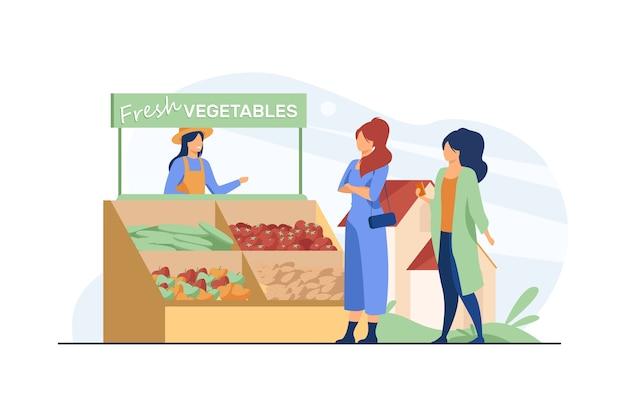 Vrouwen die verse groenten van boerderij kiezen. boer, eco, maaltijd platte vectorillustratie. gezonde voeding en voeding