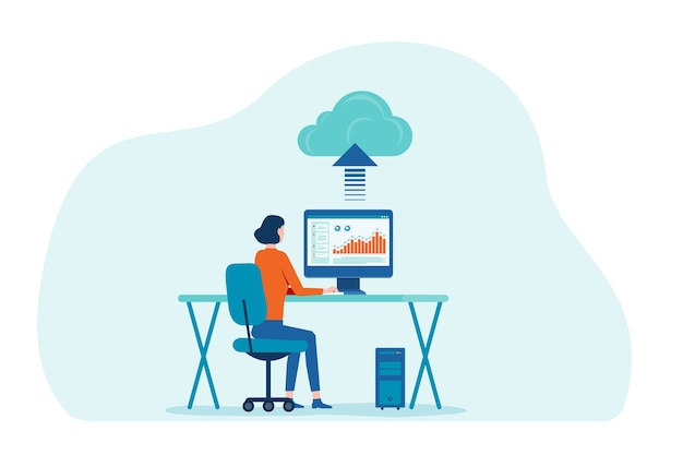 Vrouwen die werken met technologie cloud computing