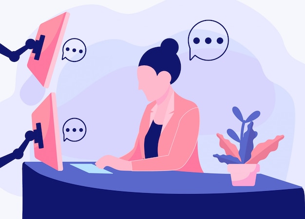 Vrouwen die werken op de achtergrond van de kantoorillustratie