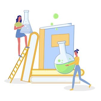 Vrouwen die wetenschappelijk onderzoek vlakke illustratie maken