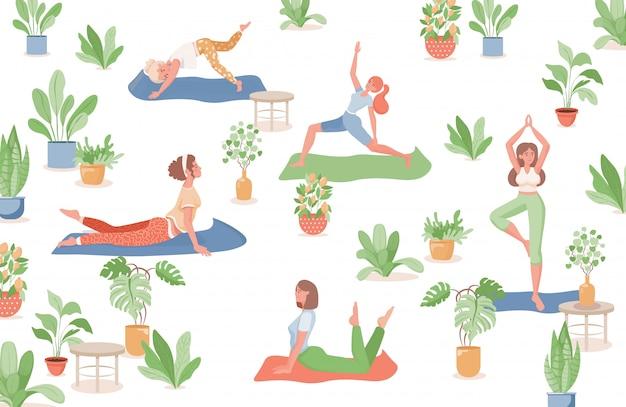 Vrouwen die yoga, fitness of vlakke illustratie doen. gezonde, sportieve levensstijl, zomeractiviteiten.