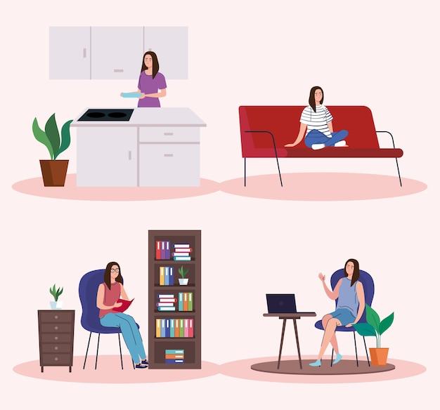 Vrouwen doen activiteiten vanuit het huispictogramcollectieontwerp van telewerken en activiteitsthema.