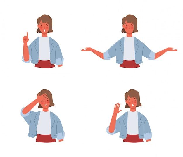 Vrouwen doen een negatief gebaar. emotie en lichaamstaalconcept in illustratie van de beeldverhaal de vlakke stijl.
