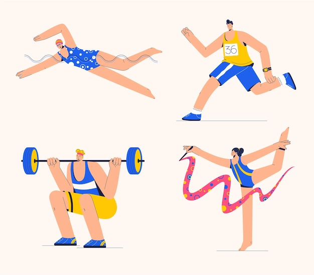 Vrouwen doen ritmische gymnastiek en zwemmen