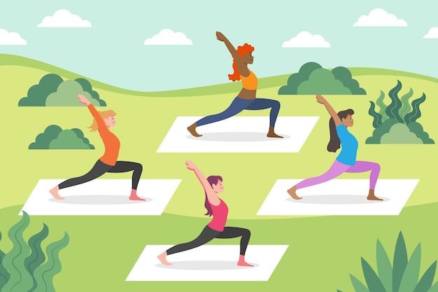 Vrouwen doen yoga buitenshuis