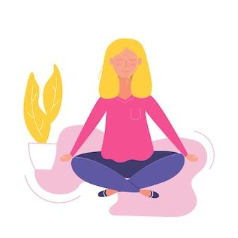 Vrouwen doen yoga en mediteren bezoeken in een lotus pose illustratie in vector.