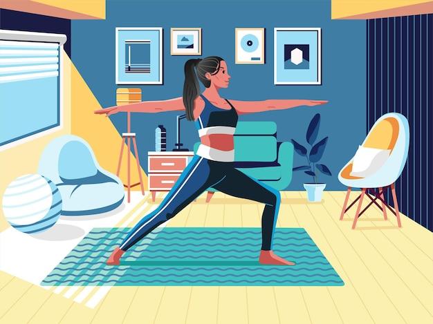 Vrouwen doen yoga thuis met gezellige en moderne interieur illustratie.
