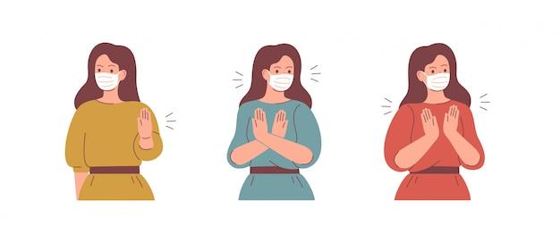 Vrouwen dragen gezichtsmaskers en zeggen stop met het gebaar.