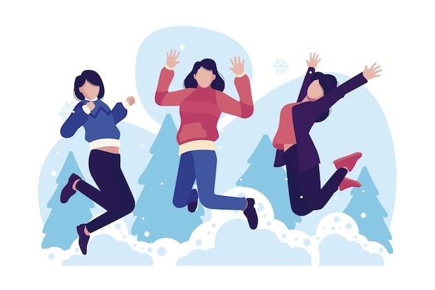 Vrouwen dragen winterkleren springen
