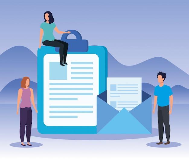 Vrouwen en man teamwerk met documenten en brief
