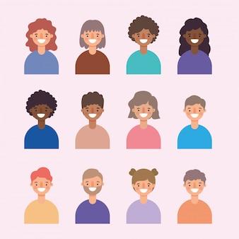 Vrouwen en mannen avatars cartoons lachend ontwerp, persoon mensen en menselijk thema.