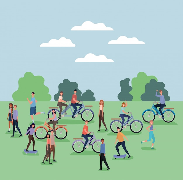 Vrouwen en mannen cartoons fietsen en skateboards rijden in het park