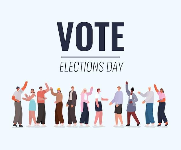 Vrouwen en mannen cartoons met ontwerp van stemborden, verkiezingsdag