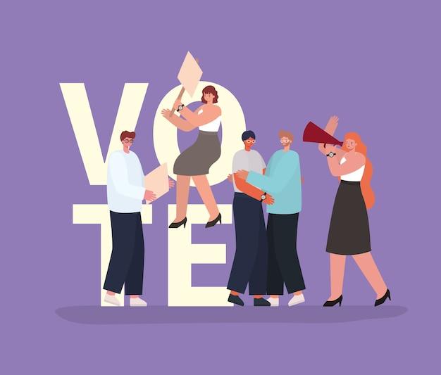 Vrouwen en mannen cartoons met stem banner en megafoon op paars achtergrondontwerp, stemming verkiezingen dag thema.