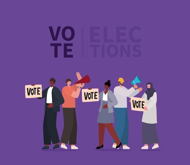 Vrouwen en mannen cartoons met stembordjes en megafoons op paars achtergrondontwerp, stem verkiezingen dagthema.