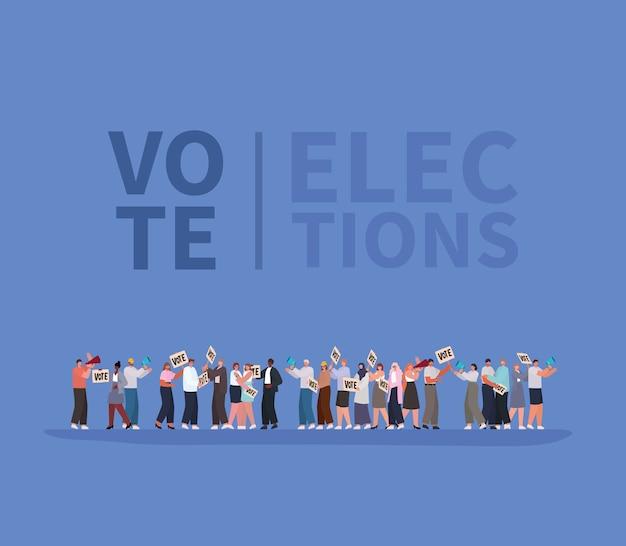 Vrouwen en mannen cartoons met stemplakkaten en megafoons op blauw ontwerp als achtergrond, thema van de dag van de stemverkiezingen.