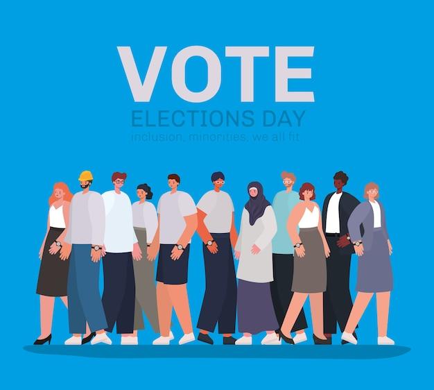 Vrouwen en mannen cartoons op blauw achtergrondontwerp, stemming verkiezingen dag thema.