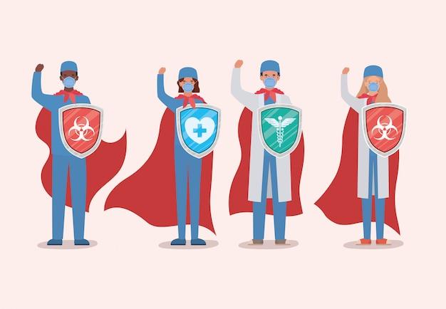 Vrouwen en mannen dokters helden met cape en schild tegen 2019 ncov virus ontwerp van covid 19 infectie ziektesymptomen en medische thema-illustratie