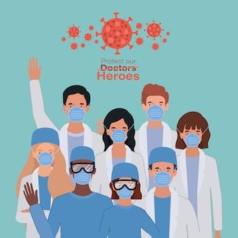 Vrouwen en mannen doktershelden met uniformen en maskers tegen 2019 ncov-virusontwerp van covid 19-ziektesymptomen en medisch thema vectorillustratie