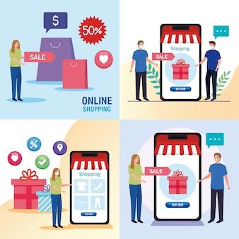 Vrouwen en mannen met tassen en smartphones van shopping online e-commerce markt detailhandel en kopen thema-illustratie
