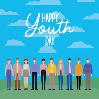 Vrouwen en mannen tekenfilms glimlachen van gelukkige jeugddag