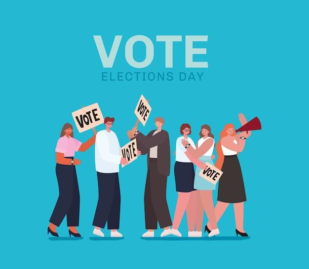 Vrouwen en mannen tekenfilms met stemplakkaten en megafoon op blauw ontwerp als achtergrond, het thema van de verkiezingsdag van de stemming.