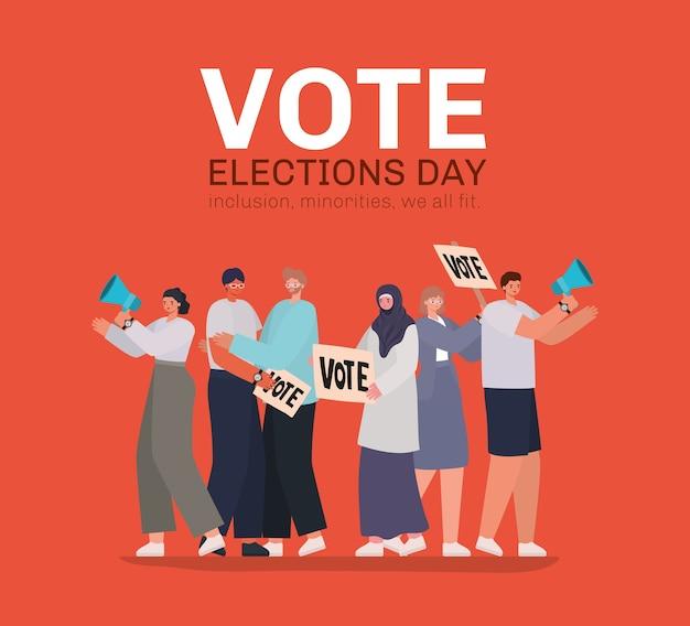 Vrouwen en mannen tekenfilms met stemplakkaten en megafoons op rood ontwerp als achtergrond, thema van de dag van de stemverkiezingen.