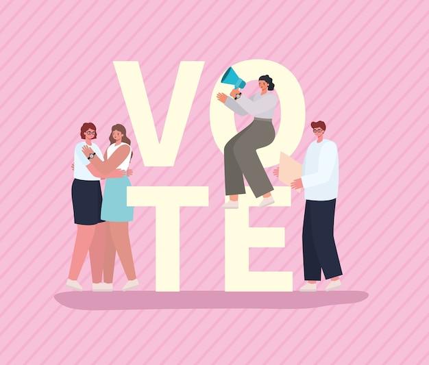 Vrouwen en mannenbeeldverhalen met stembordjes en megafoon op roze achtergrondontwerp, stemverkiezingsdag en overheidsthema.