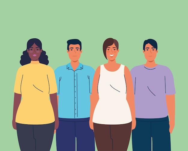Vrouwen en mannenbeeldverhalen over groen ontwerp als achtergrond, de multiculturele vrienden van diversiteitsmensen en multi-etnisch thema