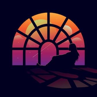 Vrouwen en zonsondergang in de sprookjesstad