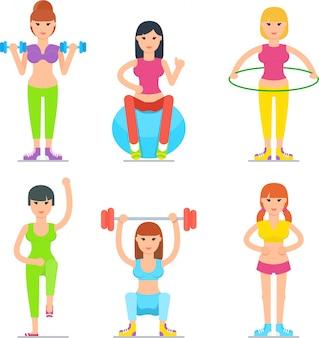 Vrouwen fitness cartoon pictogrammen collectie