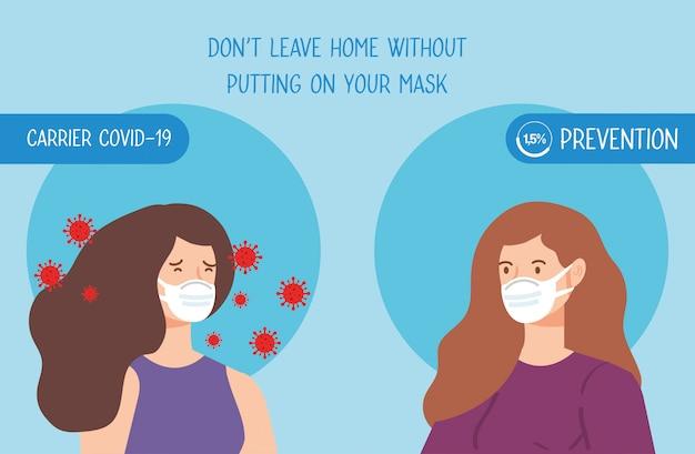 Vrouwen gebruiken gezichtsmasker met deeltjes 2019-ncov