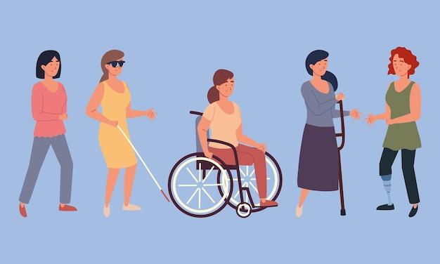 Vrouwen gehandicapte karakters
