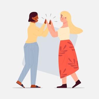 Vrouwen geven high five illustratie