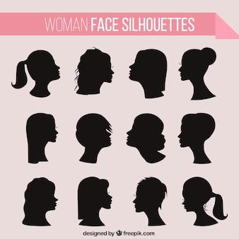 Vrouwen haistyle silhouettes