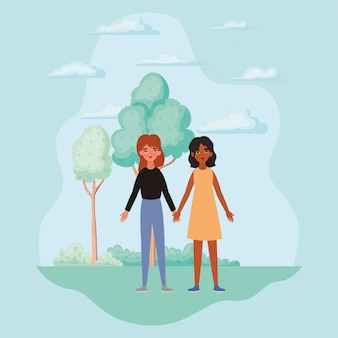 Vrouwen hand in hand bomen struiken en wolken ontwerp van empowerment vrouwelijke macht feministische mensen gender feminisme jonge rechten protest en sterk thema vectorillustratie