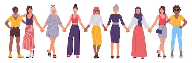Vrouwen hand in hand vriendinnen staan samen zusterschap concept vectorillustratie
