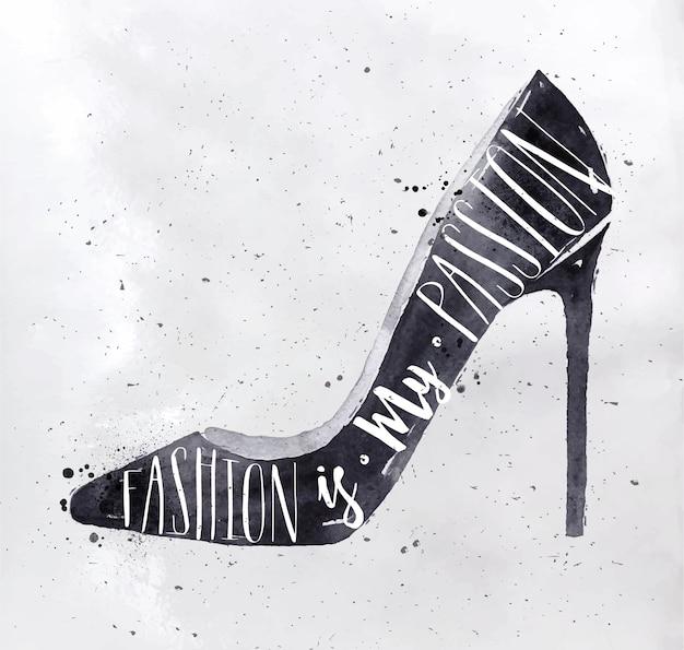 Vrouwen hoge heuvel schoenen in retro stijl belettering mode is mijn passie tekening