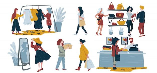 Vrouwen hoppen, personages, mode kledingwinkel