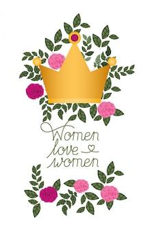 Vrouwen houden van vrouwen label met rozen geïsoleerde pictogram