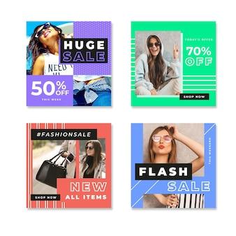 Vrouwen in daglicht kleurrijke instagram verkooppost