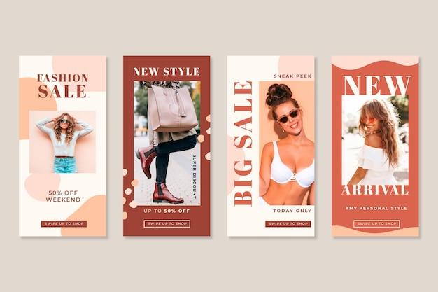 Vrouwen in de zomer organische instagram verkoopverhalen