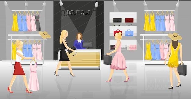 Vrouwen in een chique winkel. mensen die op kleren en toebehorenillustratie proberen