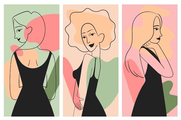 Vrouwen in elegante lijn kunststijl set