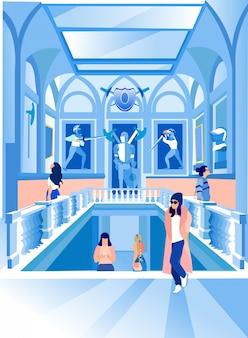 Vrouwen in expositiecentrum op zoek naar standbeelden. vector