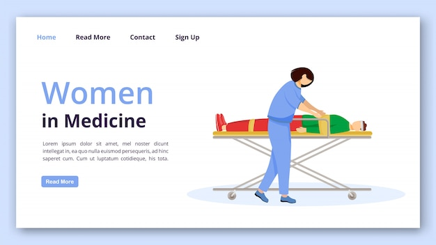 Vrouwen in geneeskunde bestemmingspagina vector sjabloon. emergency doctor website interface idee met platte illustraties. ehbo en spoedeisende zorg homepage layout.